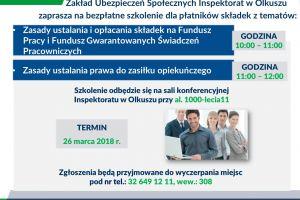 Zakład Ubezpieczeń Społecznych Inspektorat w Olkuszu zaprasza na bezpłatne szkolenia